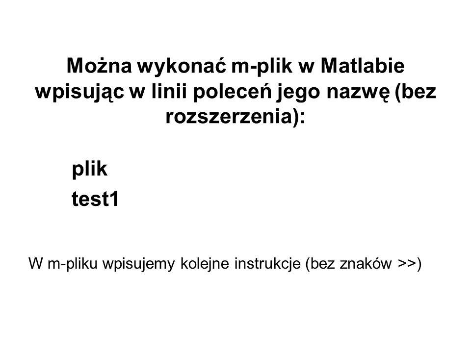plik test1 Można wykonać m-plik w Matlabie wpisując w linii poleceń jego nazwę (bez rozszerzenia): W m-pliku wpisujemy kolejne instrukcje (bez znaków