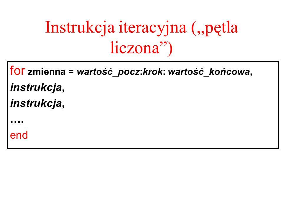 """Instrukcja iteracyjna (""""pętla liczona"""") for zmienna = wartość_pocz:krok: wartość_końcowa, instrukcja, …. end"""