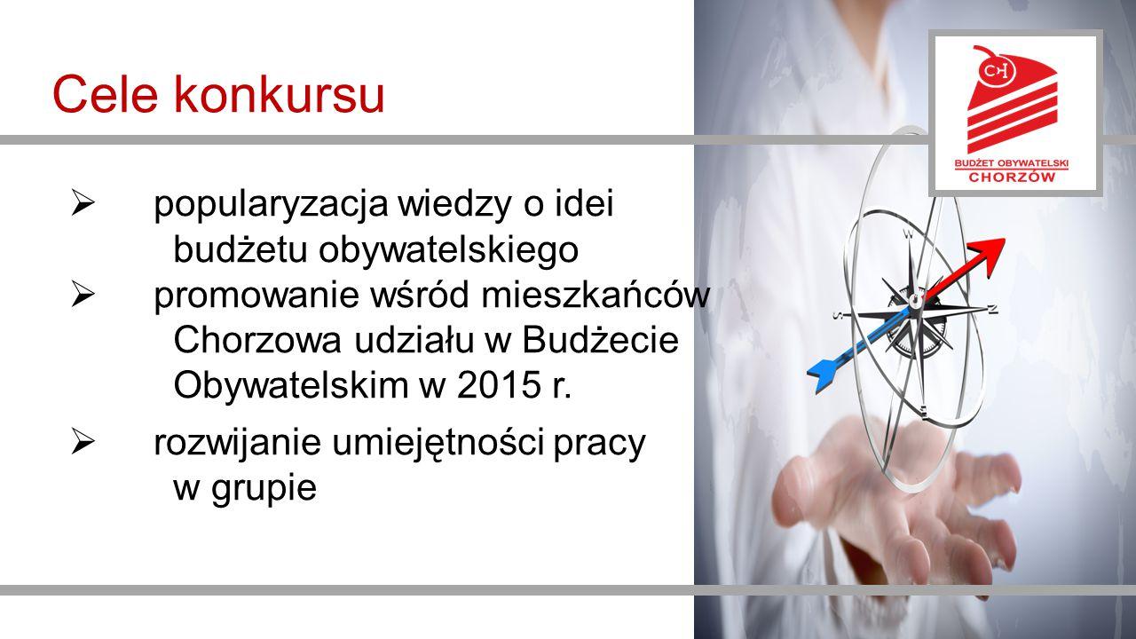 Cele konkursu  popularyzacja wiedzy o idei budżetu obywatelskiego  promowanie wśród mieszkańców Chorzowa udziału w Budżecie Obywatelskim w 2015 r.