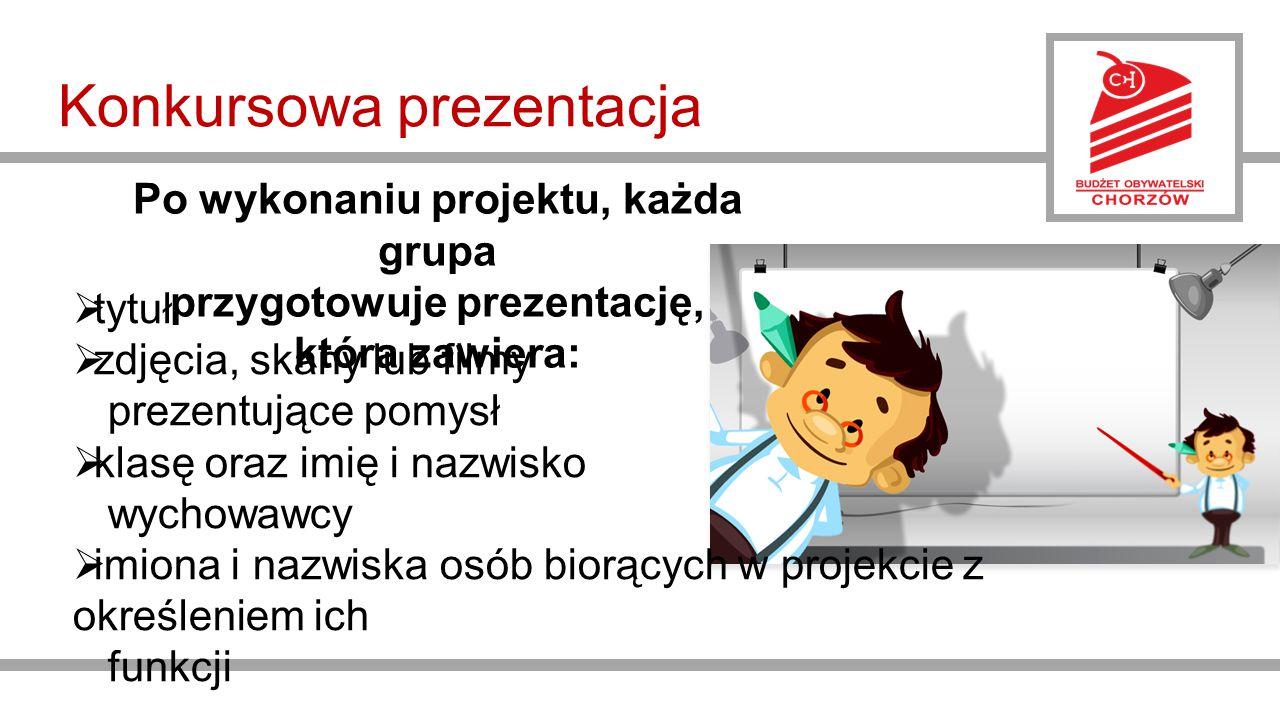 Konkursowa prezentacja  tytuł  zdjęcia, skany lub filmy prezentujące pomysł  klasę oraz imię i nazwisko wychowawcy  imiona i nazwiska osób biorących w projekcie z określeniem ich funkcji Po wykonaniu projektu, każda grupa przygotowuje prezentację, która zawiera:
