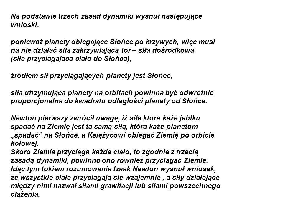 Na podstawie trzech zasad dynamiki wysnuł następujące wnioski: ponieważ planety obiegające Słońce po krzywych, więc musi na nie działać siła zakrzywia
