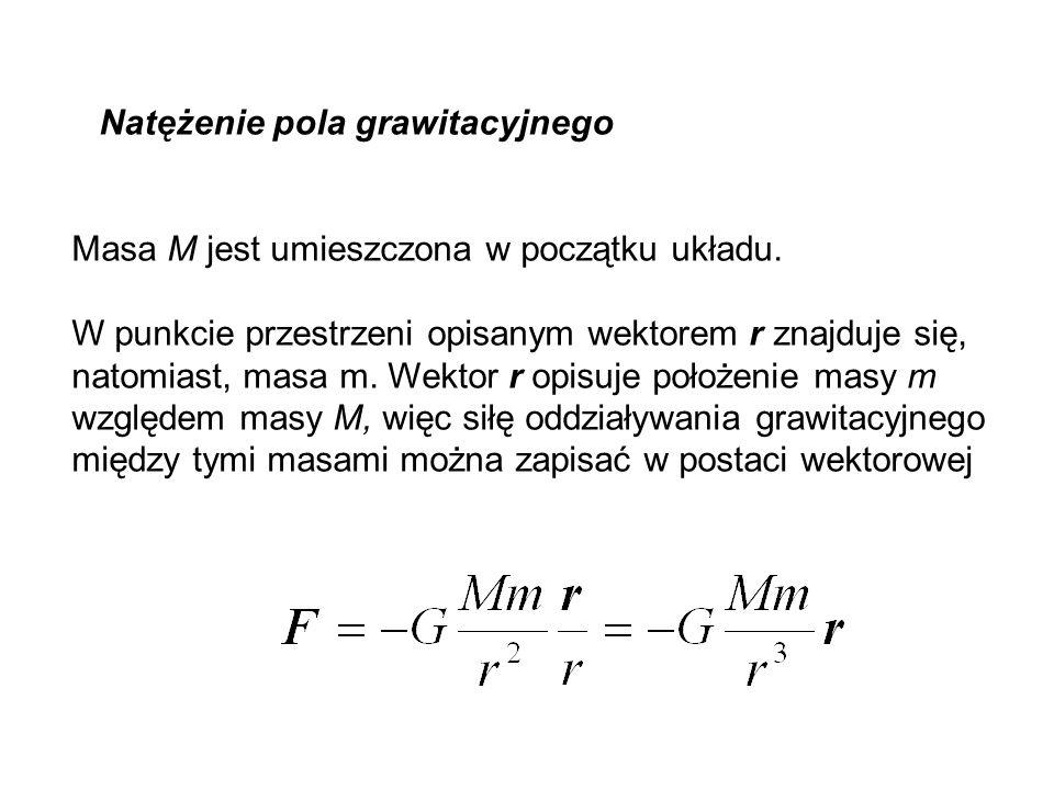 Natężenie pola grawitacyjnego Masa M jest umieszczona w początku układu. W punkcie przestrzeni opisanym wektorem r znajduje się, natomiast, masa m. We