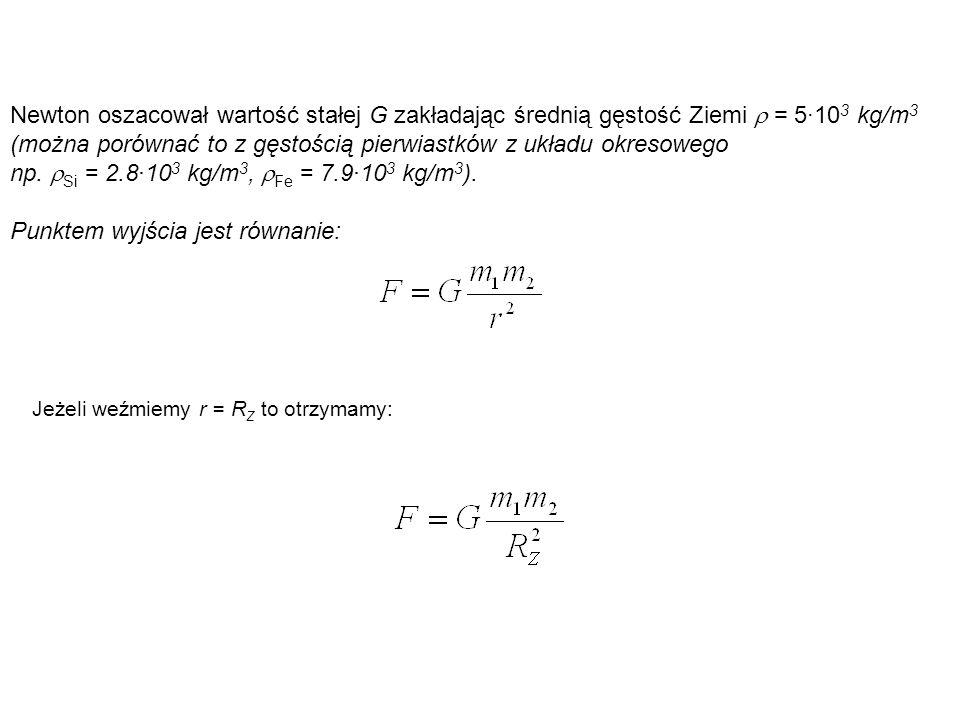 Newton oszacował wartość stałej G zakładając średnią gęstość Ziemi  = 5·10 3 kg/m 3 (można porównać to z gęstością pierwiastków z układu okresowego n