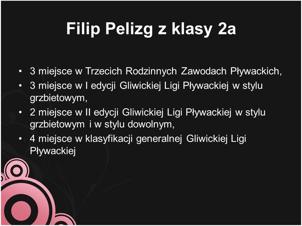 Filip Pelizg z klasy 2a 3 miejsce w Trzecich Rodzinnych Zawodach Pływackich, 3 miejsce w I edycji Gliwickiej Ligi Pływackiej w stylu grzbietowym, 2 mi