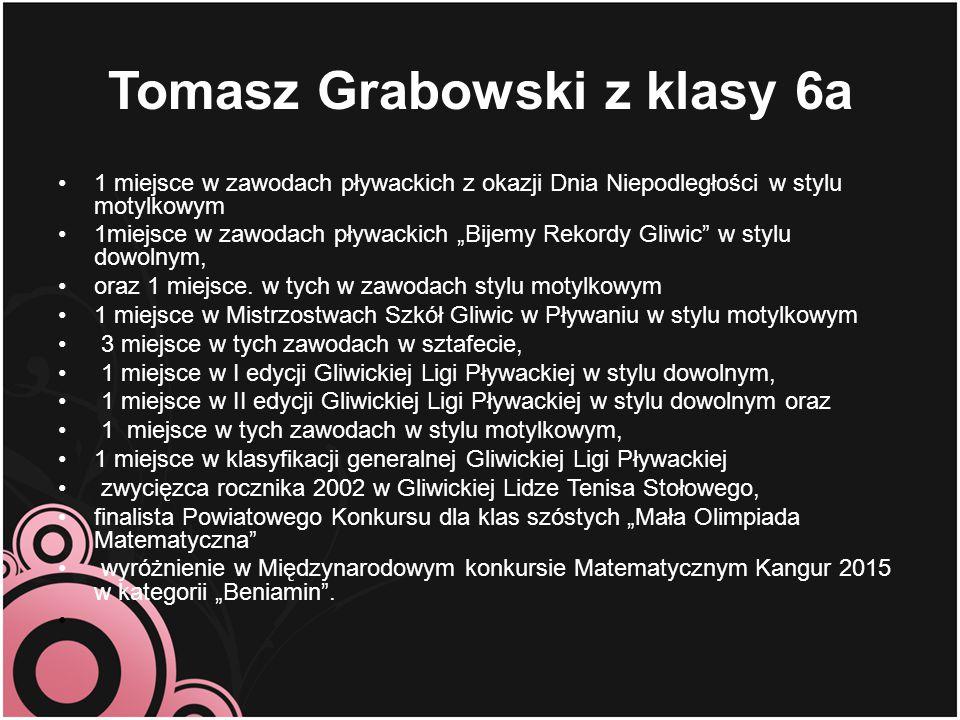 """Tomasz Grabowski z klasy 6a 1 miejsce w zawodach pływackich z okazji Dnia Niepodległości w stylu motylkowym 1miejsce w zawodach pływackich """"Bijemy Rek"""
