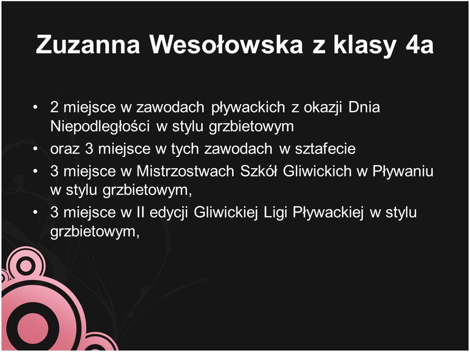 Zuzanna Wesołowska z klasy 4a 2 miejsce w zawodach pływackich z okazji Dnia Niepodległości w stylu grzbietowym oraz 3 miejsce w tych zawodach w sztafe