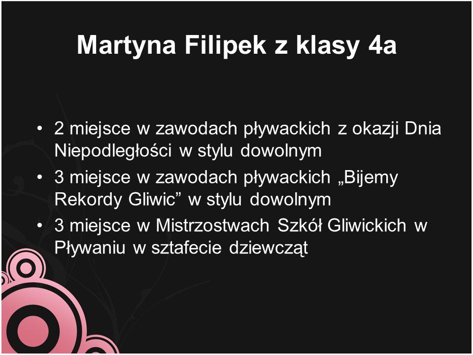 """Martyna Filipek z klasy 4a 2 miejsce w zawodach pływackich z okazji Dnia Niepodległości w stylu dowolnym 3 miejsce w zawodach pływackich """"Bijemy Rekor"""