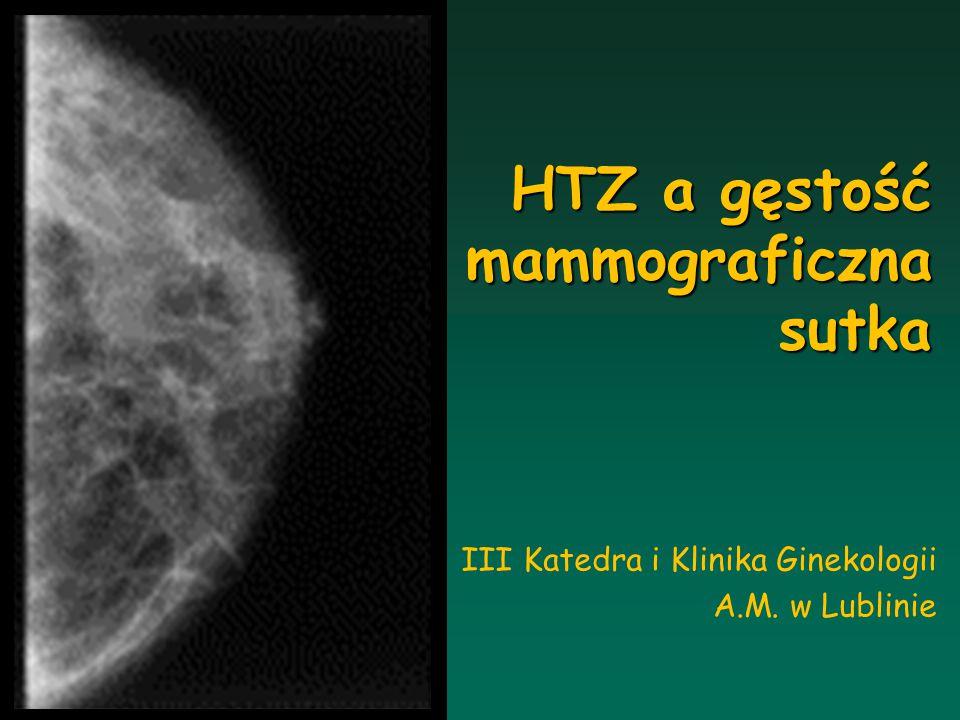 Gęstość mammograficzna follow-up 4-letni % kobiet ze wzrostem BD Erel et al.