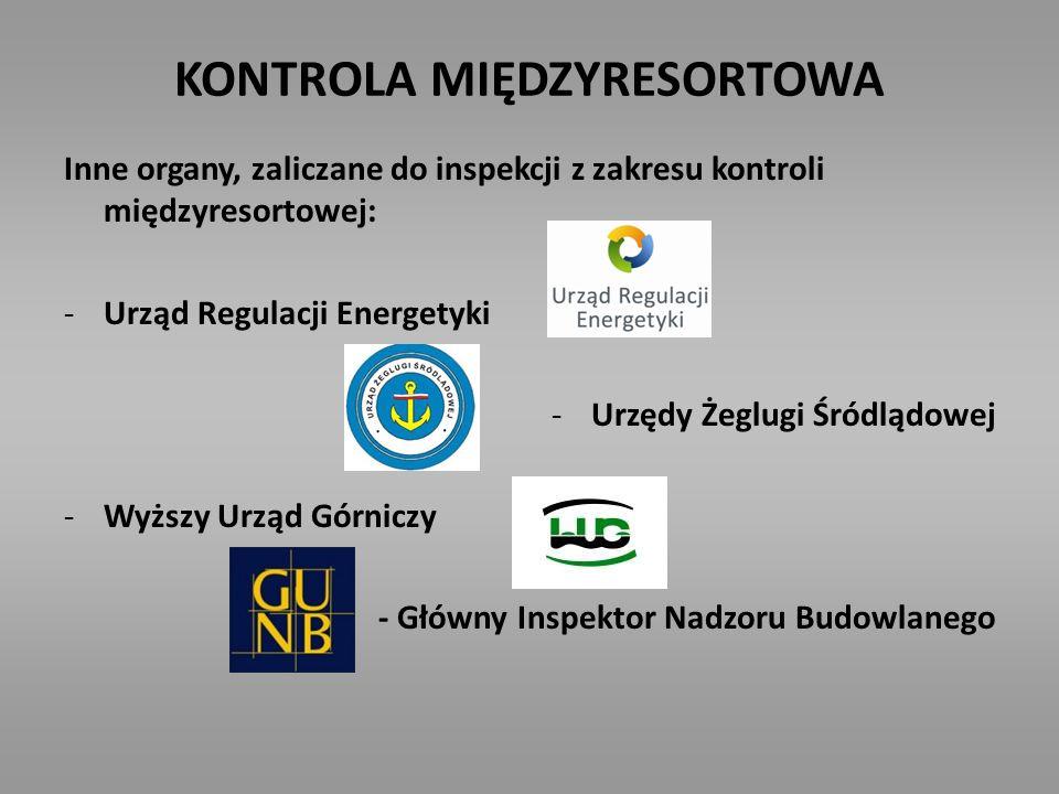 KONTROLA MIĘDZYRESORTOWA Inne organy, zaliczane do inspekcji z zakresu kontroli międzyresortowej: -Urząd Regulacji Energetyki -Urzędy Żeglugi Śródlądo