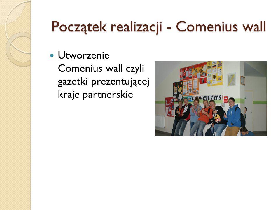 Początek realizacji - Comenius wall Utworzenie Comenius wall czyli gazetki prezentującej kraje partnerskie