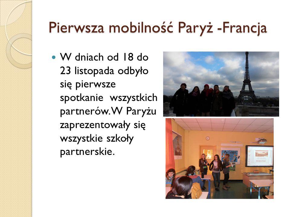 Pierwsza mobilność Paryż -Francja W dniach od 18 do 23 listopada odbyło się pierwsze spotkanie wszystkich partnerów.