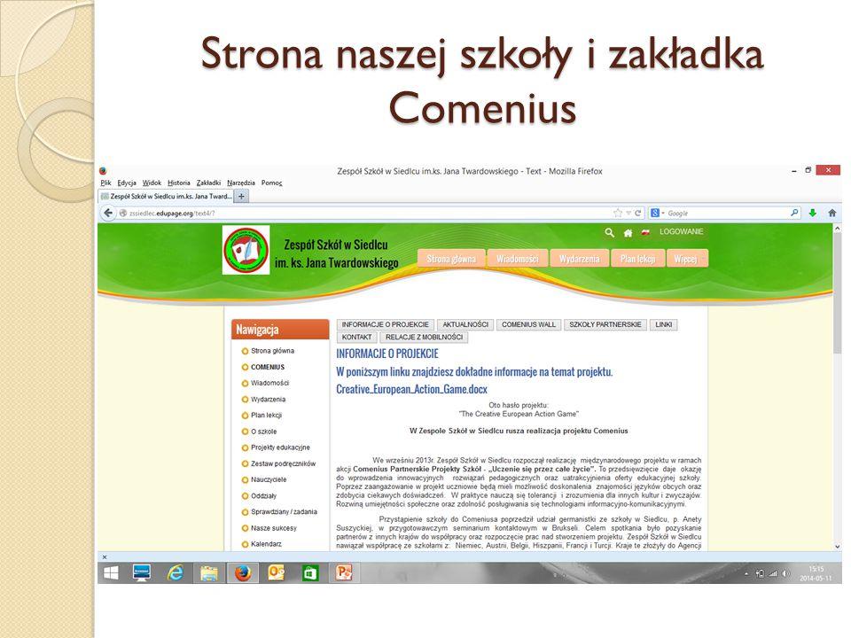 Strona naszej szkoły i zakładka Comenius
