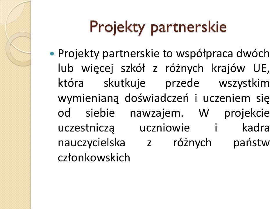 Projekty partnerskie Projekty partnerskie to współpraca dwóch lub więcej szkół z różnych krajów UE, która skutkuje przede wszystkim wymienianą doświadczeń i uczeniem się od siebie nawzajem.