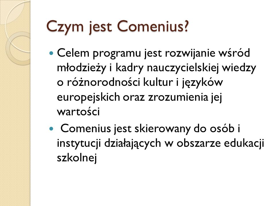 Czym jest Comenius.