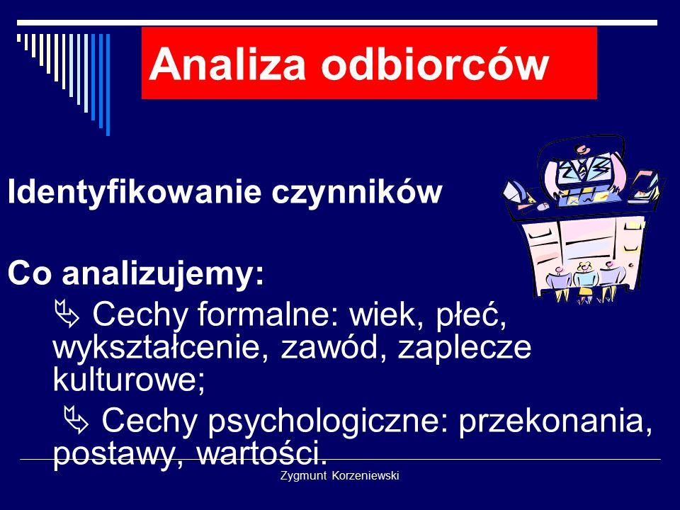 Zygmunt Korzeniewski Analiza odbiorców Identyfikowanie czynników Co analizujemy:  Cechy formalne: wiek, płeć, wykształcenie, zawód, zaplecze kulturow