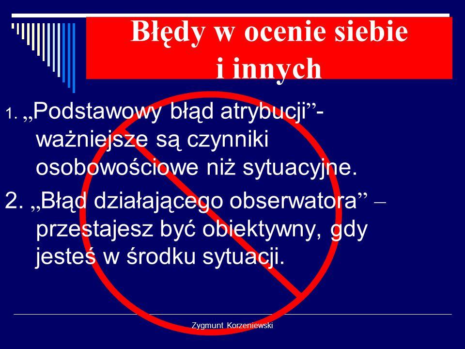 """Zygmunt Korzeniewski Błędy w ocenie siebie i innych 1. """" Podstawowy błąd atrybucji """" - ważniejsze są czynniki osobowościowe niż sytuacyjne. 2. """" Błąd"""