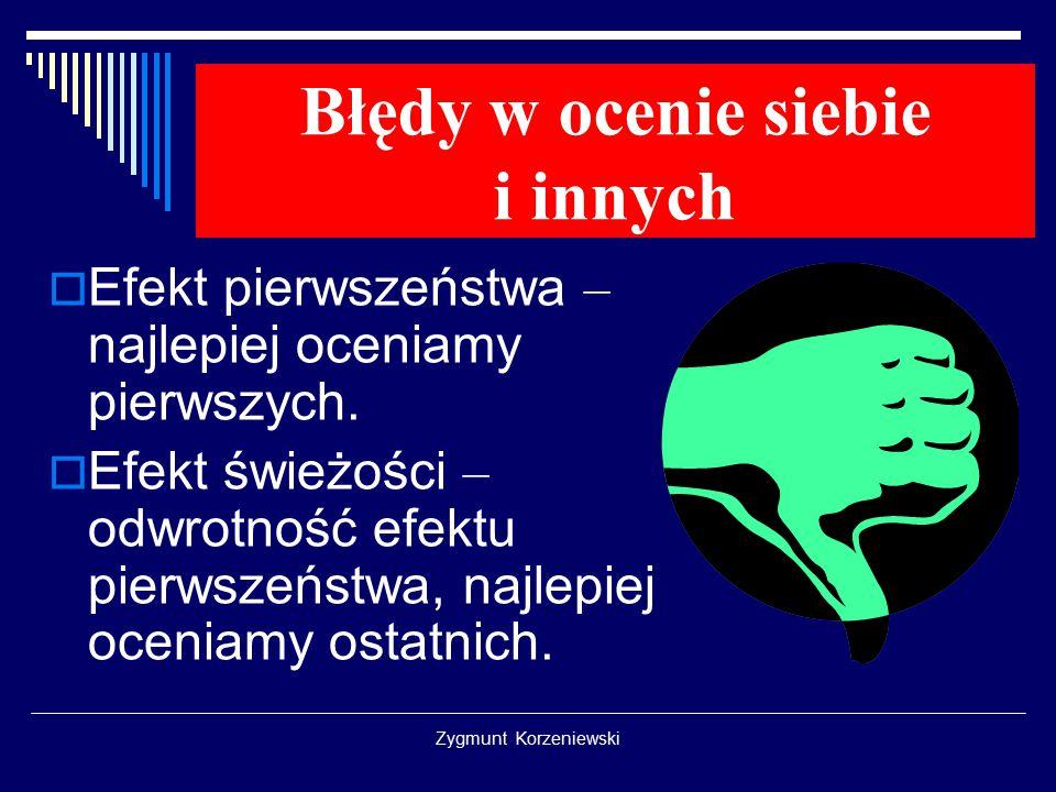 Zygmunt Korzeniewski Błędy w ocenie siebie i innych  Efekt pierwszeństwa – najlepiej oceniamy pierwszych.