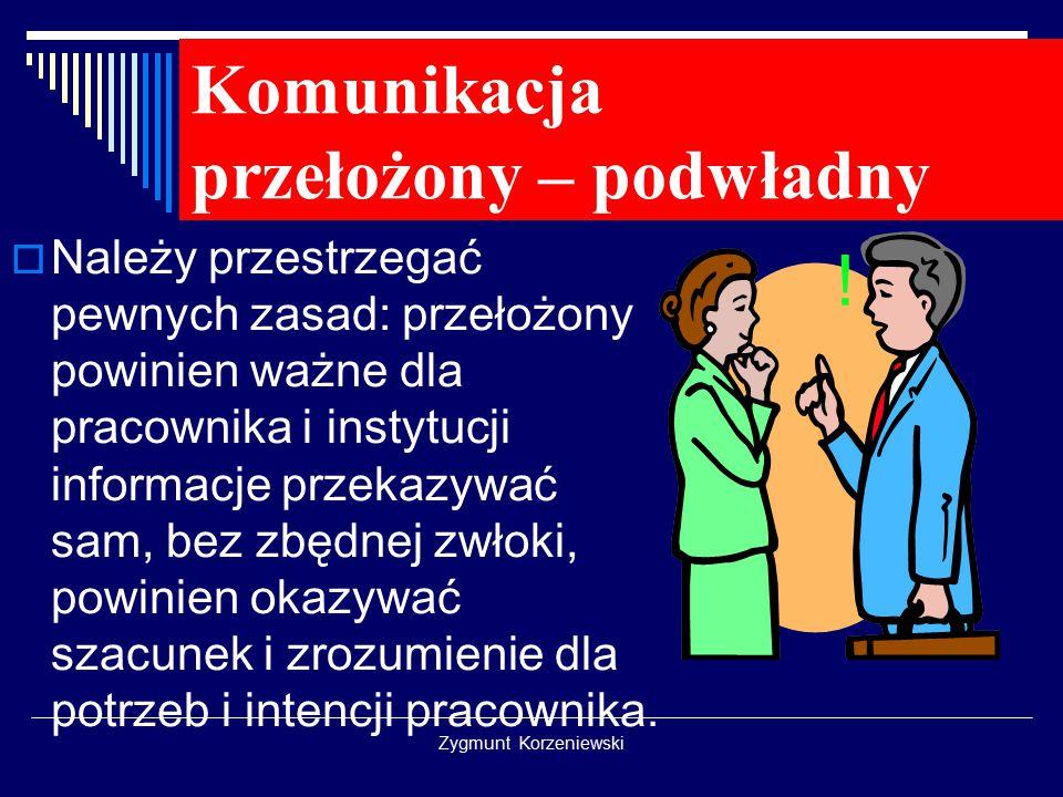 Komunikacja przełożony – podwładny  Należy przestrzegać pewnych zasad: przełożony powinien ważne dla pracownika i instytucji informacje przekazywać sam, bez zbędnej zwłoki, powinien okazywać szacunek i zrozumienie dla potrzeb i intencji pracownika.