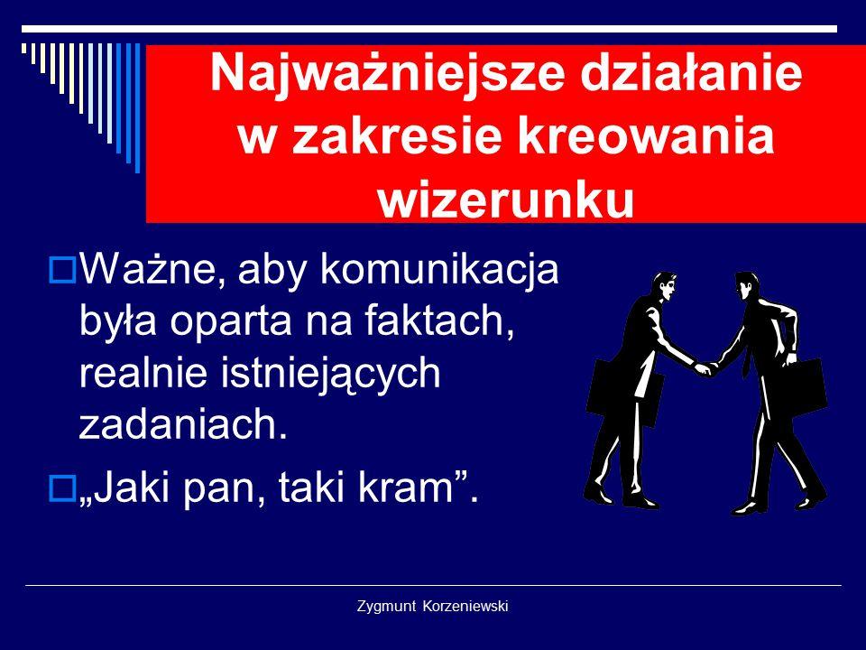 Zygmunt Korzeniewski Najważniejsze działanie w zakresie kreowania wizerunku  Ważne, aby komunikacja była oparta na faktach, realnie istniejących zadaniach.