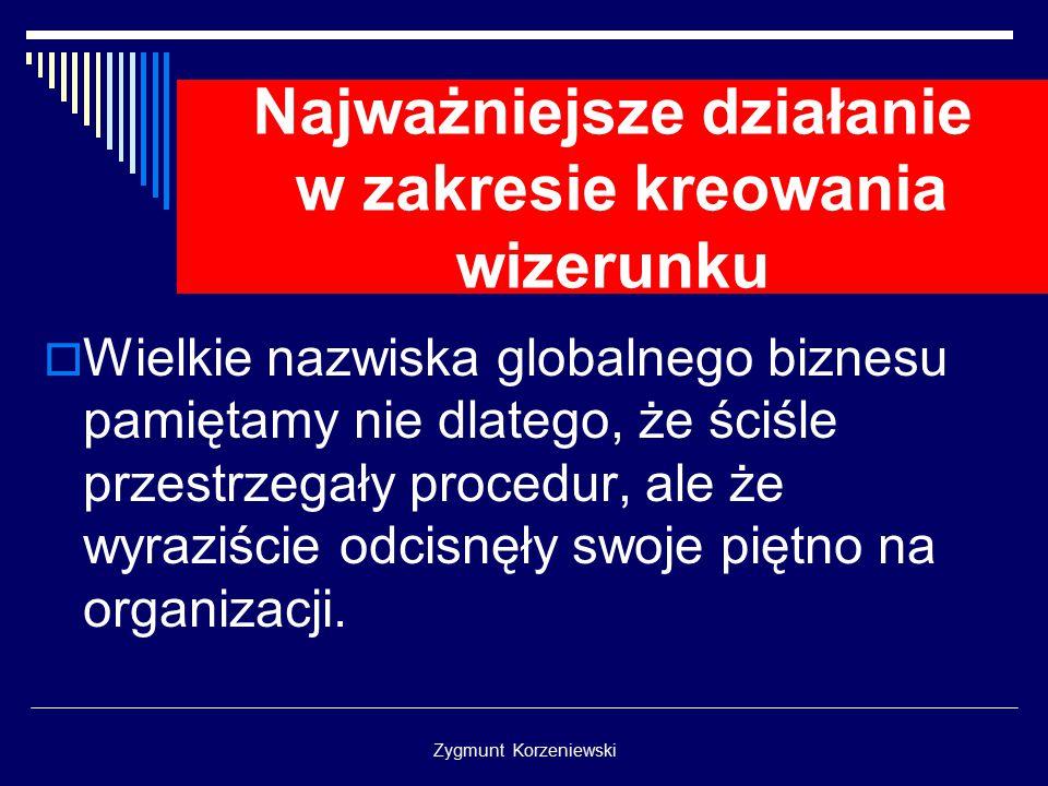 Zygmunt Korzeniewski Najważniejsze działanie w zakresie kreowania wizerunku  Wielkie nazwiska globalnego biznesu pamiętamy nie dlatego, że ściśle przestrzegały procedur, ale że wyraziście odcisnęły swoje piętno na organizacji.
