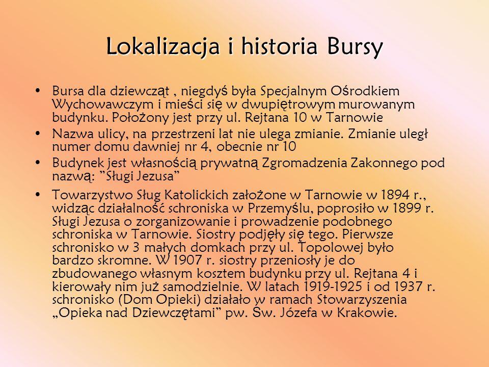 Lokalizacja i historia Bursy Bursa dla dziewcz ą t, niegdy ś była Specjalnym O ś rodkiem Wychowawczym i mie ś ci si ę w dwupi ę trowym murowanym budyn