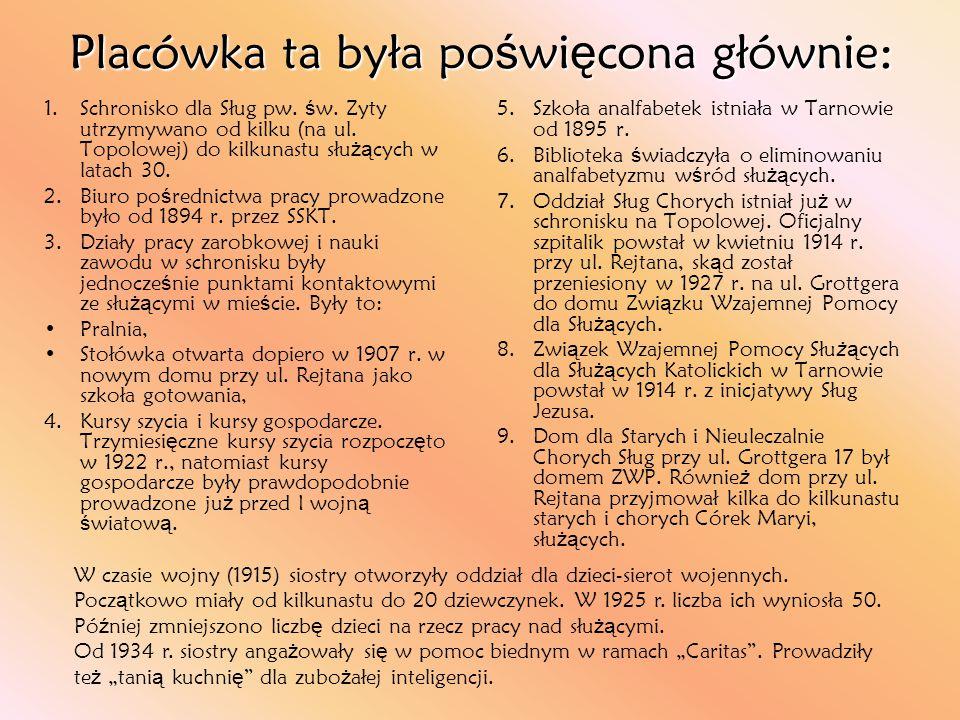 1.Schronisko dla Sług pw. ś w. Zyty utrzymywano od kilku (na ul. Topolowej) do kilkunastu słu żą cych w latach 30. 2.Biuro po ś rednictwa pracy prowad