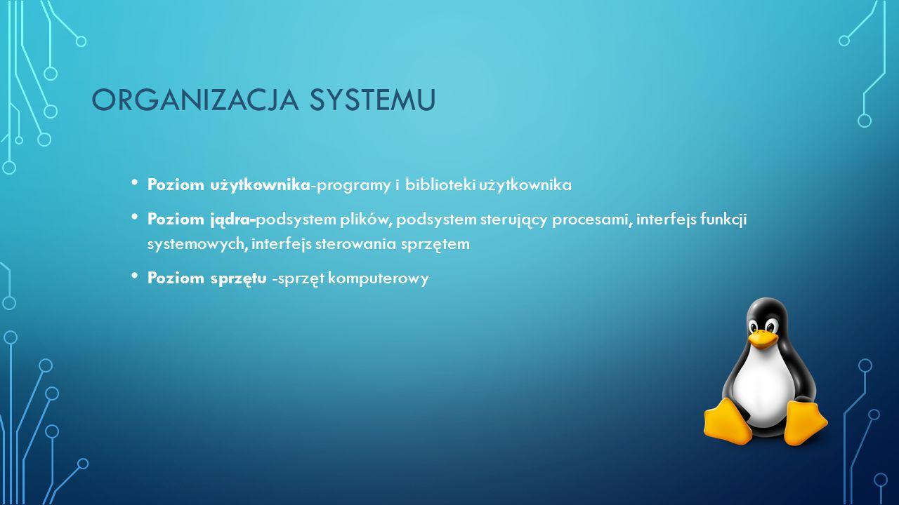ORGANIZACJA SYSTEMU Poziom użytkownika-programy i biblioteki użytkownika Poziom jądra-podsystem plików, podsystem sterujący procesami, interfejs funkcji systemowych, interfejs sterowania sprzętem Poziom sprzętu -sprzęt komputerowy