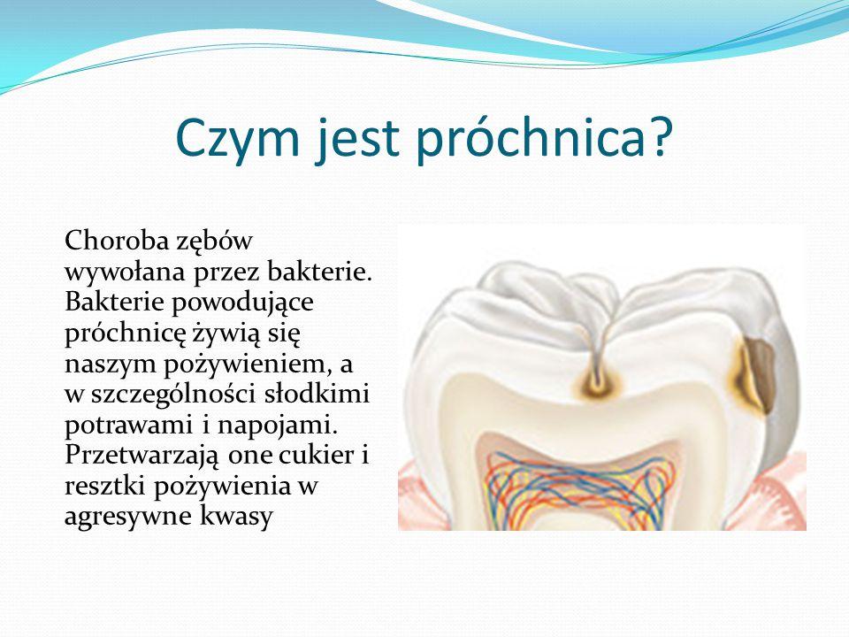 Czym jest próchnica? Choroba zębów wywołana przez bakterie. Bakterie powodujące próchnicę żywią się naszym pożywieniem, a w szczególności słodkimi pot