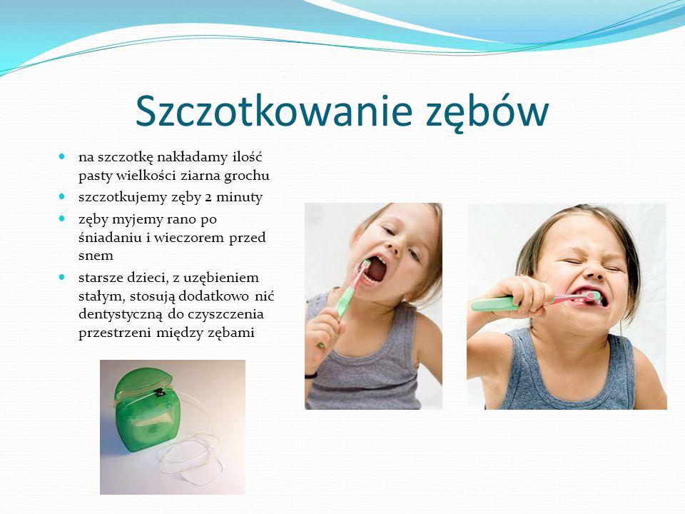 Szczotkowanie zębów na szczotkę nakładamy ilość pasty wielkości ziarna grochu szczotkujemy zęby 2 minuty zęby myjemy rano po śniadaniu i wieczorem prz