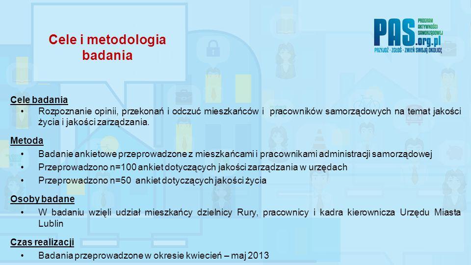 Cele i metodologia badania Cele badania Rozpoznanie opinii, przekonań i odczuć mieszkańców i pracowników samorządowych na temat jakości życia i jakośc