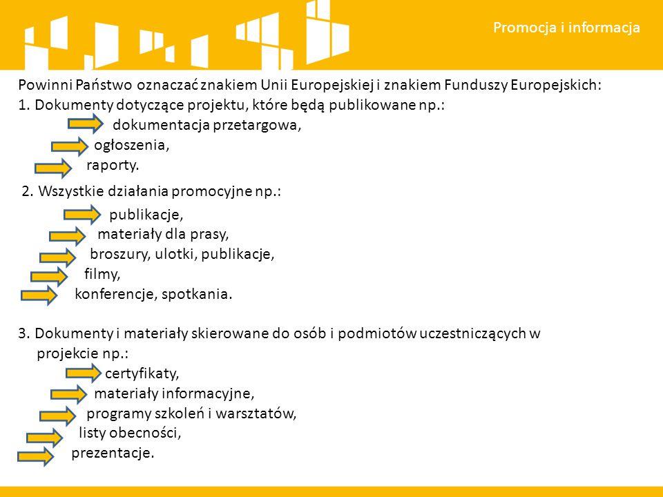 Promocja i informacja Powinni Państwo oznaczać znakiem Unii Europejskiej i znakiem Funduszy Europejskich: 1.