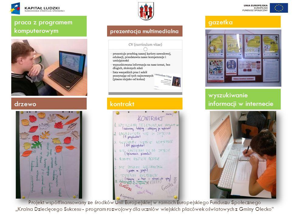 """Projekt współfinansowany ze środków Unii Europejskiej w ramach Europejskiego Funduszu Społecznego """"Kraina Dziecięcego Sukcesu - program rozwojowy dla"""
