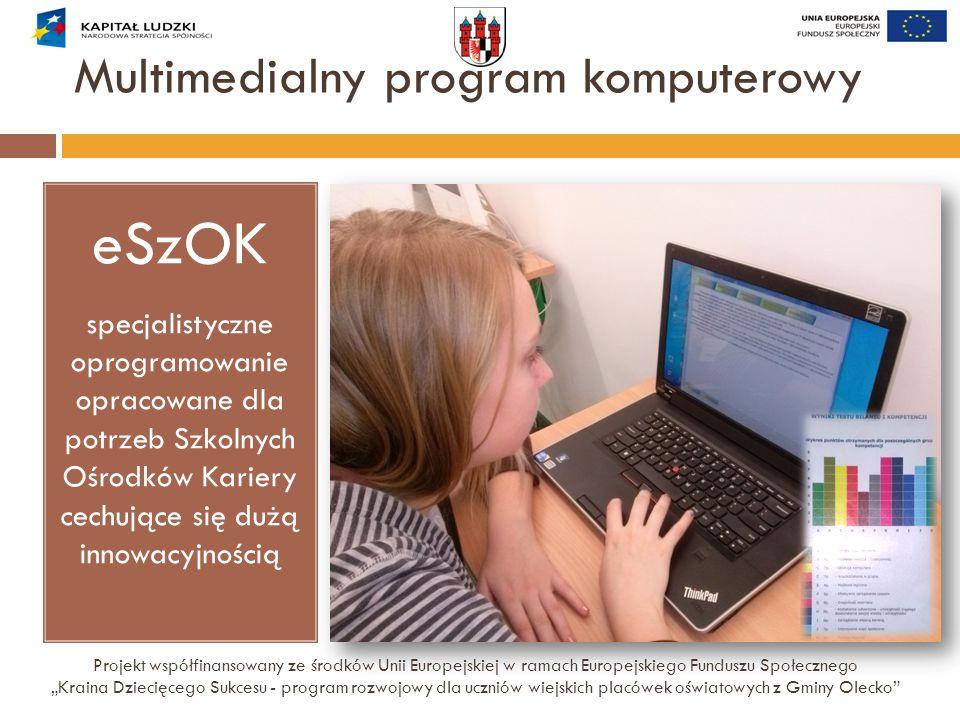 """Multimedialny program komputerowy Projekt współfinansowany ze środków Unii Europejskiej w ramach Europejskiego Funduszu Społecznego """"Kraina Dziecięceg"""