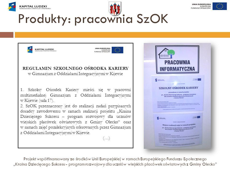 """Produkty: pracownia SzOK Projekt współfinansowany ze środków Unii Europejskiej w ramach Europejskiego Funduszu Społecznego """"Kraina Dziecięcego Sukcesu"""