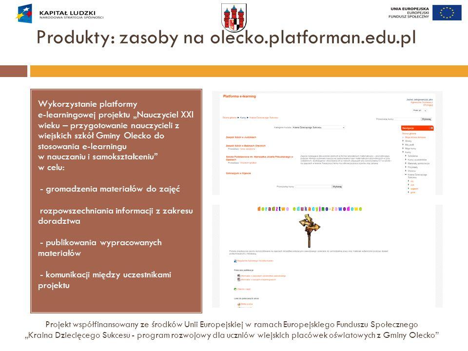"""Produkty: zasoby na olecko.platforman.edu.pl Projekt współfinansowany ze środków Unii Europejskiej w ramach Europejskiego Funduszu Społecznego """"Kraina"""
