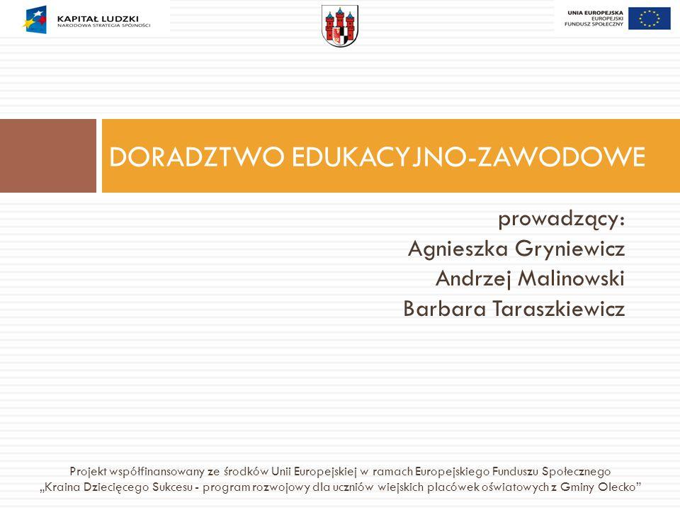 prowadzący: Agnieszka Gryniewicz Andrzej Malinowski Barbara Taraszkiewicz DORADZTWO EDUKACYJNO-ZAWODOWE Projekt współfinansowany ze środków Unii Europ