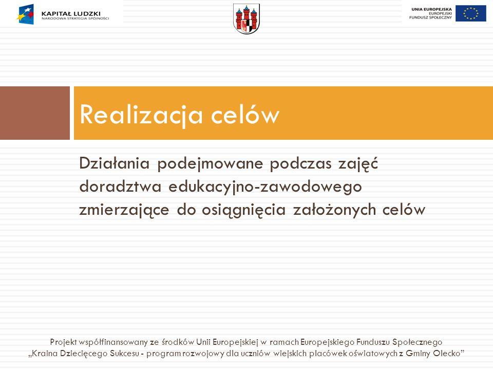 Działania podejmowane podczas zajęć doradztwa edukacyjno-zawodowego zmierzające do osiągnięcia założonych celów Realizacja celów Projekt współfinansow