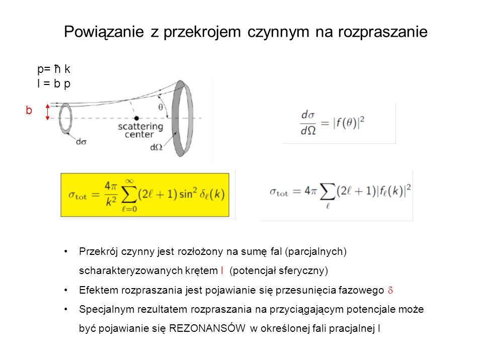 Powiązanie z przekrojem czynnym na rozpraszanie Przekrój czynny jest rozłożony na sumę fal (parcjalnych) scharakteryzowanych krętem l (potencjał sfery