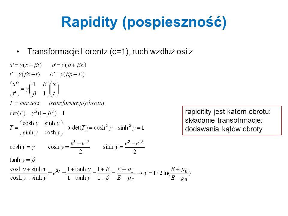 Rapidity (pospieszność) Transformacje Lorentz (c=1), ruch wzdłuż osi z rapiditity jest katem obrotu: składanie transofrmacje: dodawania kątów obroty
