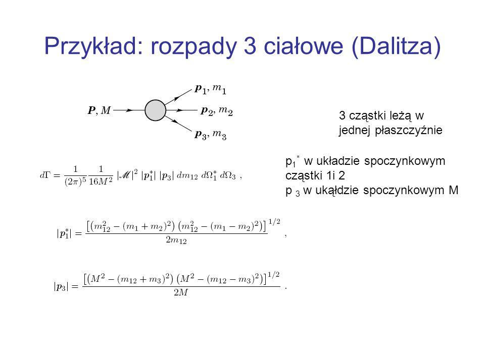 Przykład: rozpady 3 ciałowe (Dalitza) 3 cząstki leżą w jednej płaszczyźnie p 1 * w układzie spoczynkowym cząstki 1i 2 p 3 w ukąłdzie spoczynkowym M