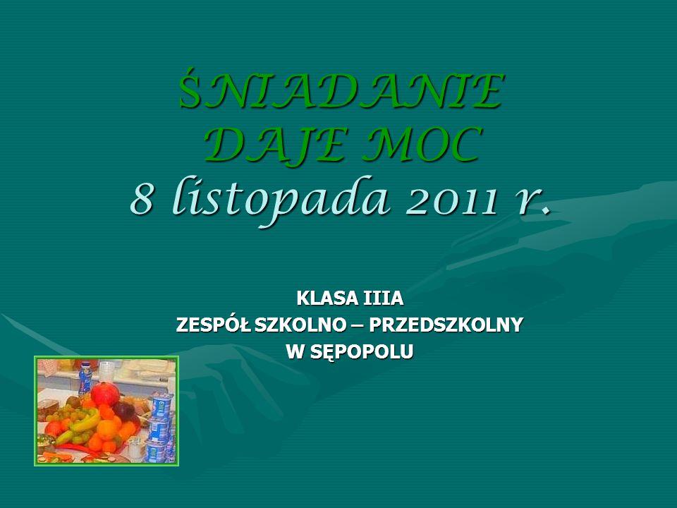 Ś NIADANIE DAJE MOC 8 listopada 2011 r. KLASA IIIA ZESPÓŁ SZKOLNO – PRZEDSZKOLNY W SĘPOPOLU