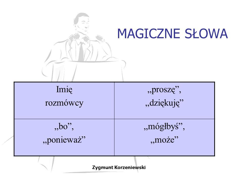 """MAGICZNE SŁOWA Imię rozmówcy """"proszę"""", """"dziękuję"""" """"bo"""", """"ponieważ"""" """"mógłbyś"""", """"może"""" Zygmunt Korzeniewski"""
