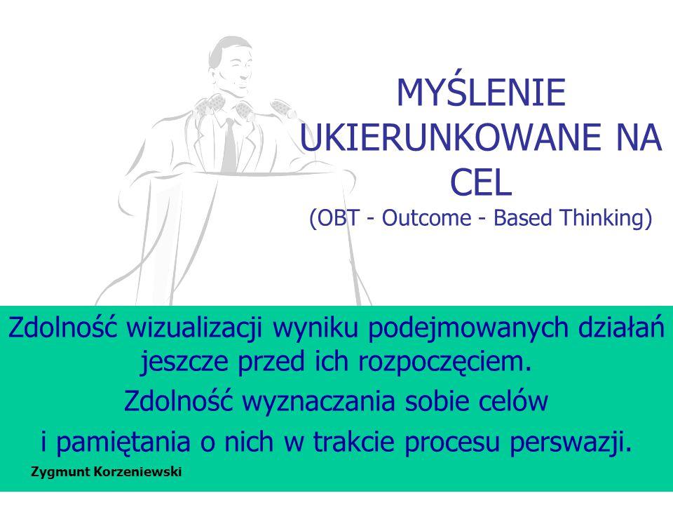 MYŚLENIE UKIERUNKOWANE NA CEL (OBT - Outcome - Based Thinking) Zdolność wizualizacji wyniku podejmowanych działań jeszcze przed ich rozpoczęciem. Zdol