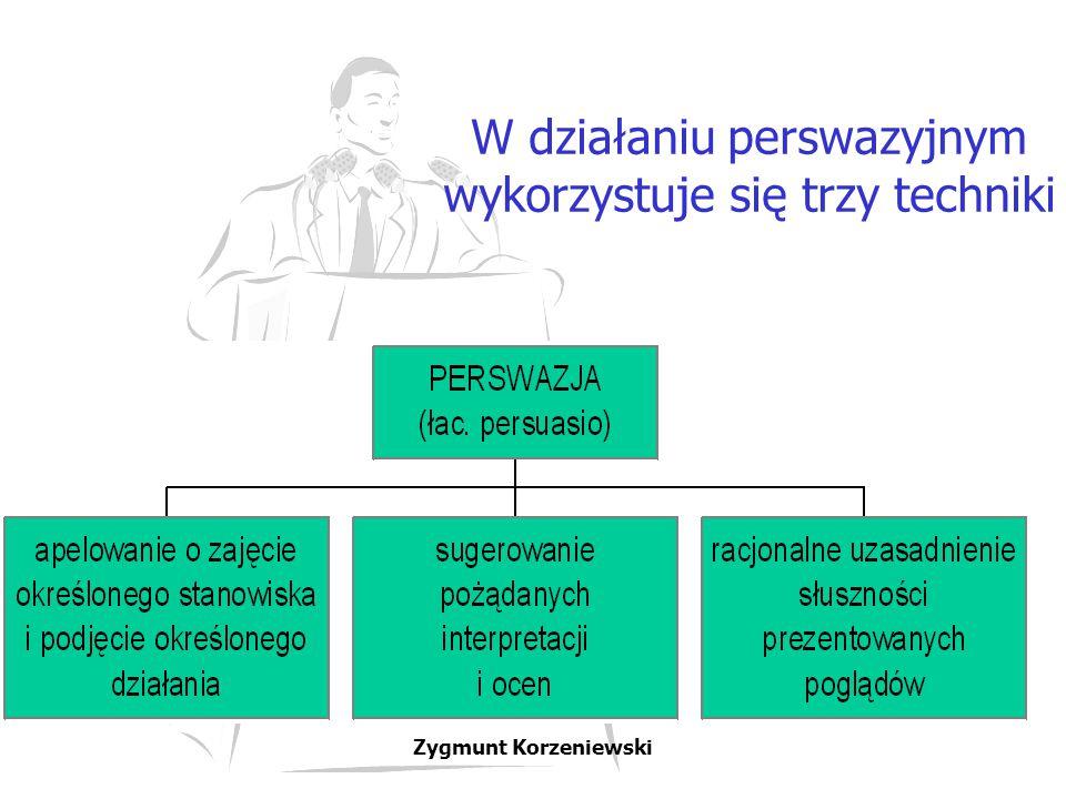 W działaniu perswazyjnym wykorzystuje się trzy techniki Zygmunt Korzeniewski