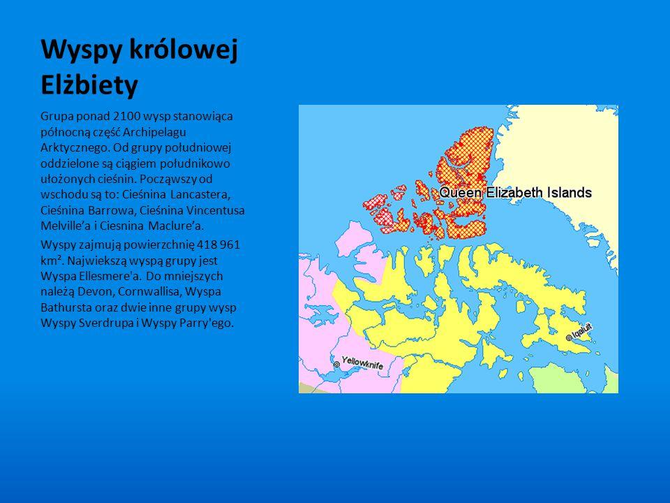 Wyspy królowej Elżbiety Grupa ponad 2100 wysp stanowiąca północną część Archipelagu Arktycznego. Od grupy południowej oddzielone są ciągiem południkow