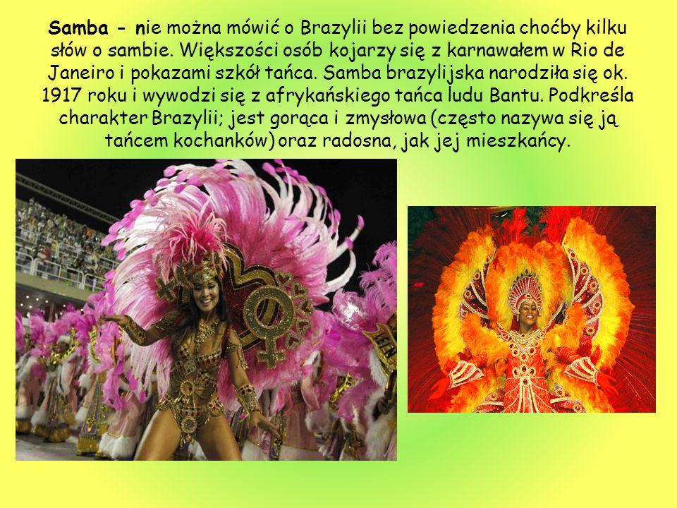 Samba - nie można mówić o Brazylii bez powiedzenia choćby kilku słów o sambie. Większości osób kojarzy się z karnawałem w Rio de Janeiro i pokazami sz