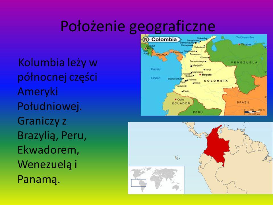 Położenie geograficzne Kolumbia leży w północnej części Ameryki Południowej. Graniczy z Brazylią, Peru, Ekwadorem, Wenezuelą i Panamą.