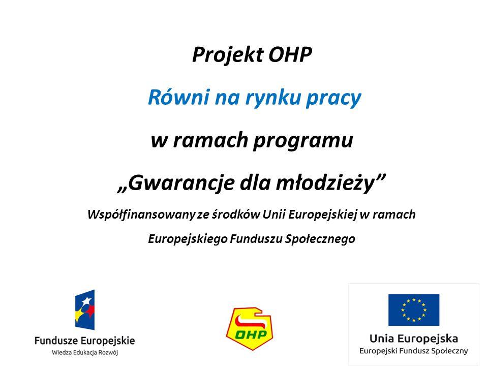 """Projekt OHP Równi na rynku pracy w ramach programu """"Gwarancje dla młodzieży"""" Współfinansowany ze środków Unii Europejskiej w ramach Europejskiego Fund"""