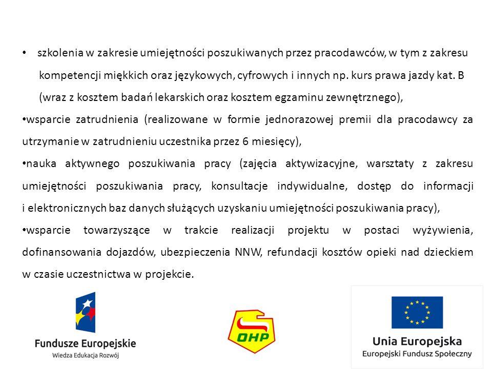 szkolenia w zakresie umiejętności poszukiwanych przez pracodawców, w tym z zakresu kompetencji miękkich oraz językowych, cyfrowych i innych np. kurs p