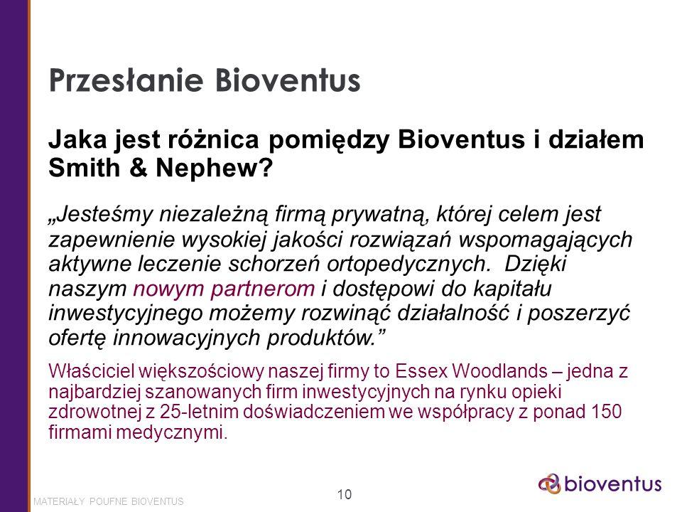MATERIAŁY POUFNE BIOVENTUS 10 Przesłanie Bioventus Jaka jest różnica pomiędzy Bioventus i działem Smith & Nephew.